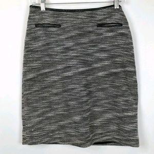 Calvin Klein Woven Tweed Faux Leather Trim Skirt
